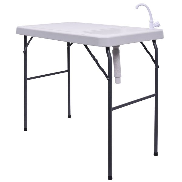 Goplus Folding Fish Fillet Hunting Table with Sink Faucet