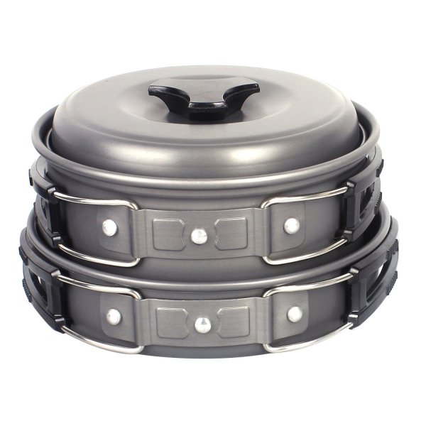 Portable Hard Anodized Aluminum Camp Cookware