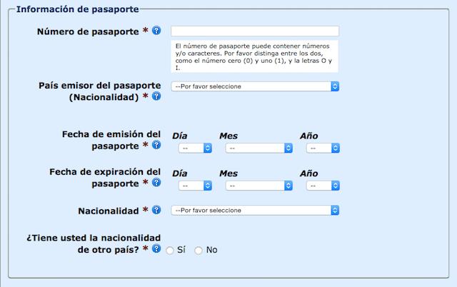Información de Pasaporte ESTA