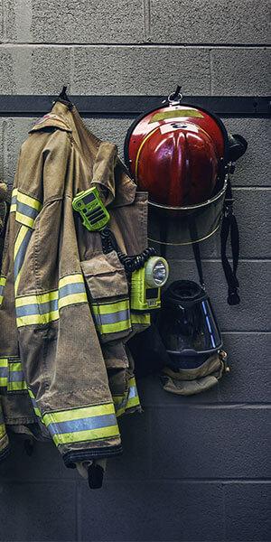A firemans coat and helmet