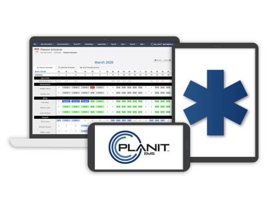 PlanIt EMS logo on a smartphone and tablet with the Platoon schedule on a laptop