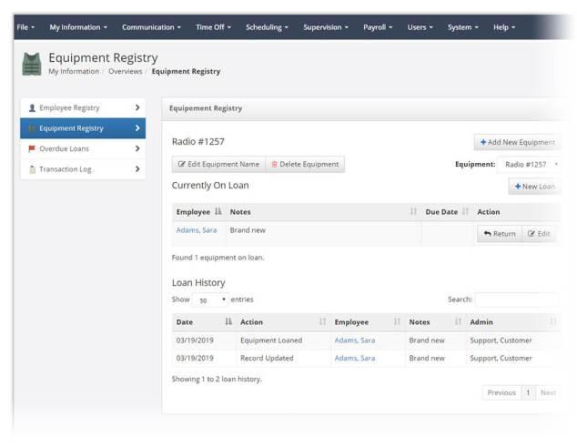 Equipment Registry screen in PlanIt scheduling software