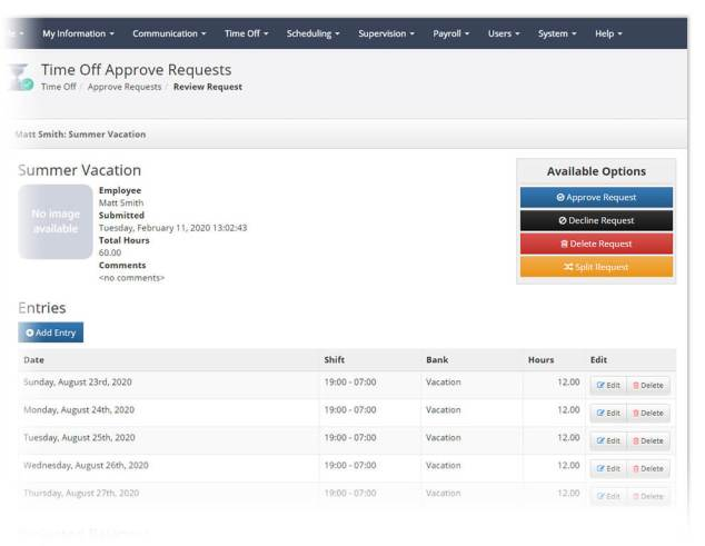 Time off approval screen in PlanIt