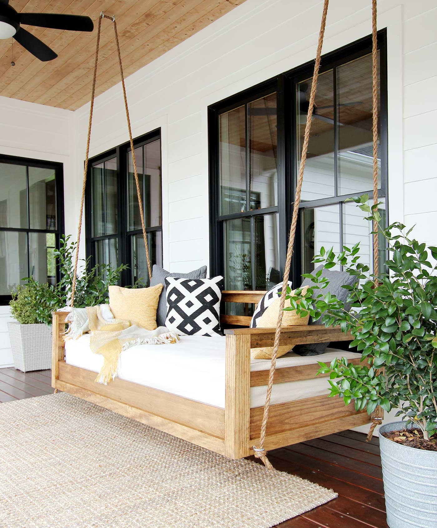 How To Build A Porch Swing Bed Plank And Pillow