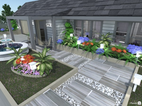 family home landscape and front