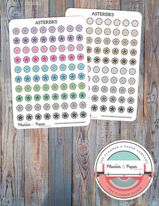 Asterisks Planner Stickers – Bright or Neutral