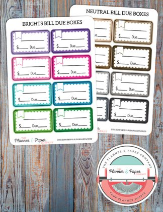 Bill Due Planner Stickers – Bright or Neutral