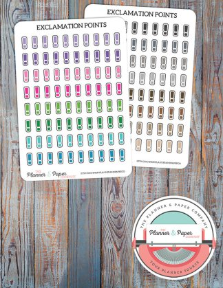 Exclamation Point Planner Stickers – Bright or Neutral