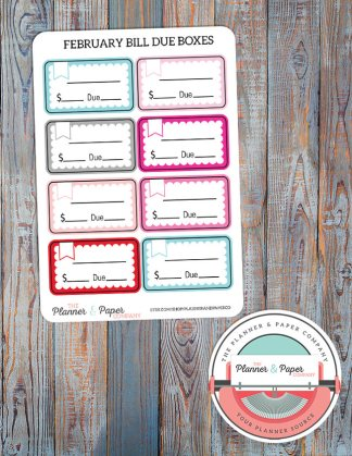 February Bill Due Planner Stickers