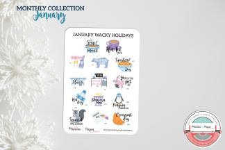 January Wacky Holiday Planner Stickers