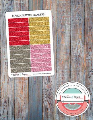 March Glitter Header Planner Stickers