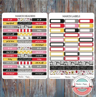 March Headers & Labels Planner Stickers