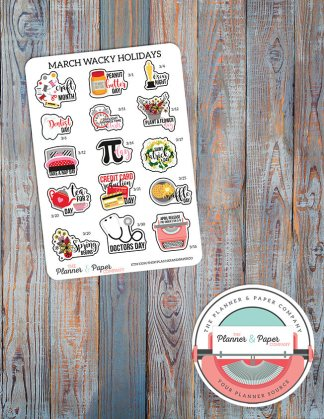 March Wacky Holiday Planner Stickers