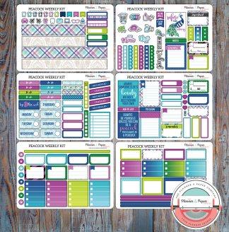 Peacock Weekly Planner Sticker Kit