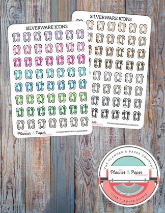 Silverware/Meal Plan Icon Planner Stickers – Bright or Neutral