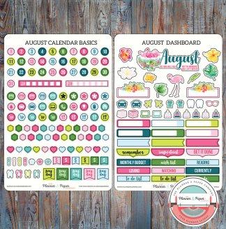 August Monthly Calendar Basics & Dashboard Planner Stickers