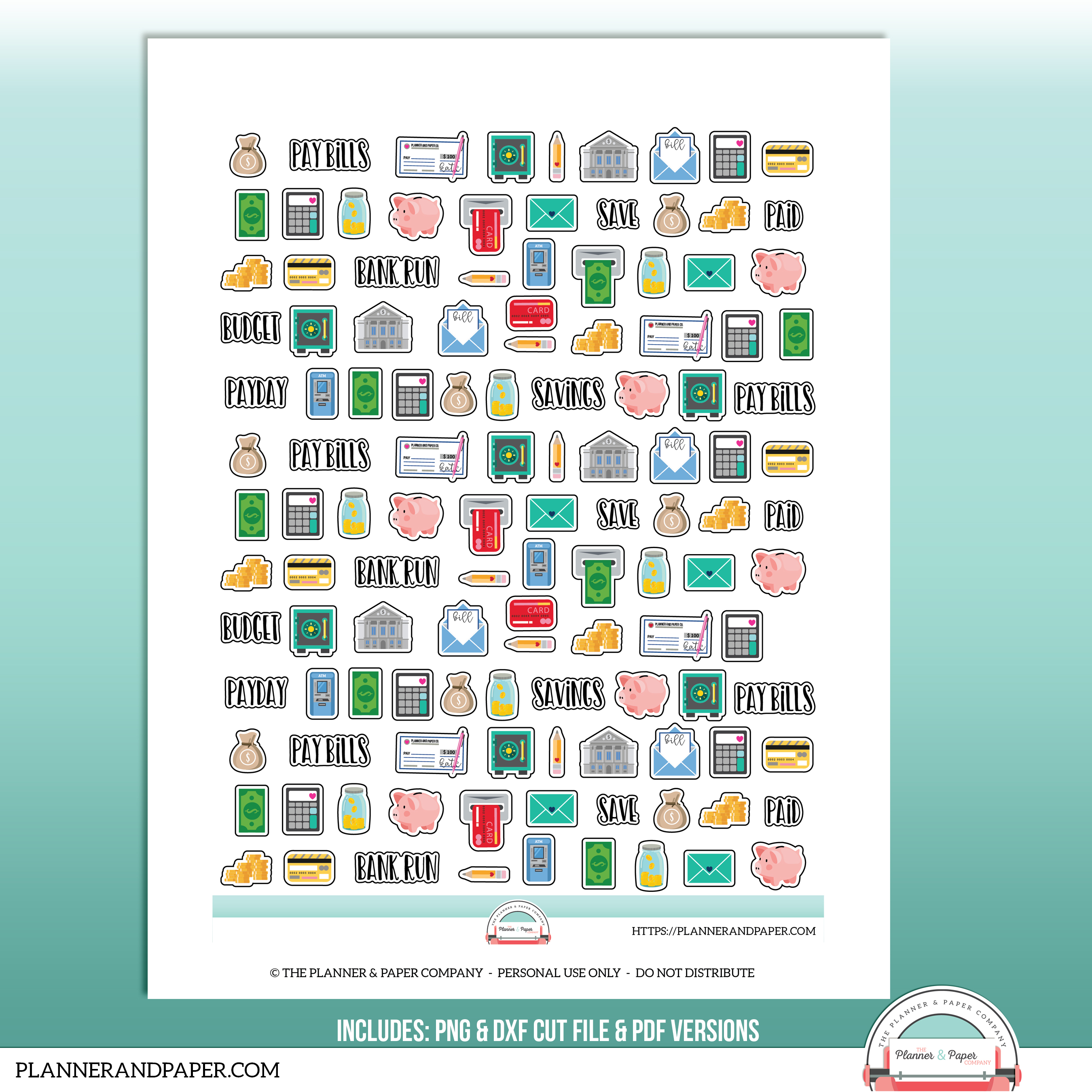 photo relating to Printable Sticker Sheet called Printable Budgeting/Cash Icon Planner Sticker Sheet