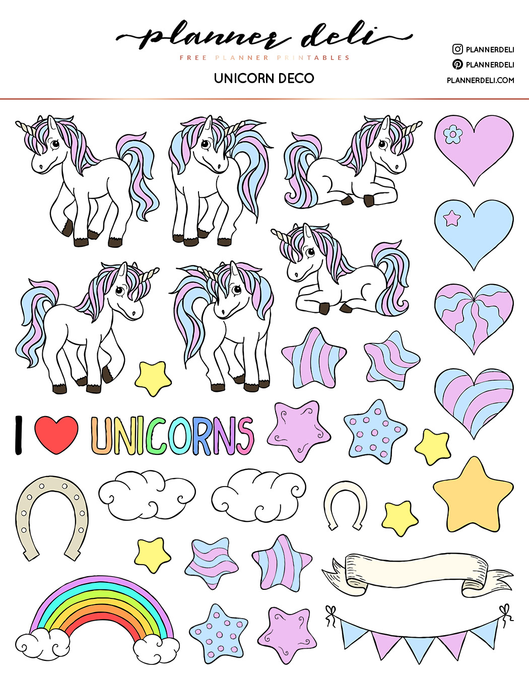 picture about Printable Sticker Sheets called Totally free Unicorn Deco Printable Stickers - Planner Deli