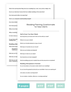 wedding questions planner