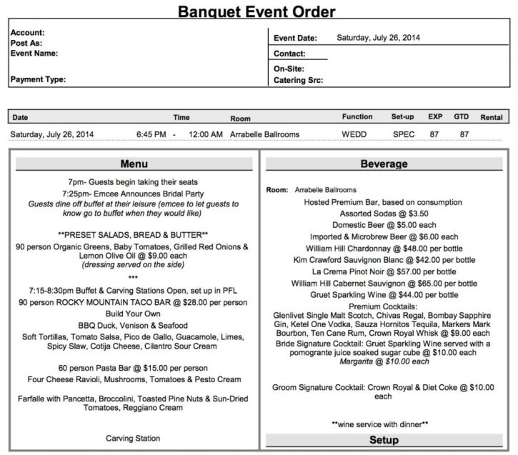 what is a banquet event order  beo