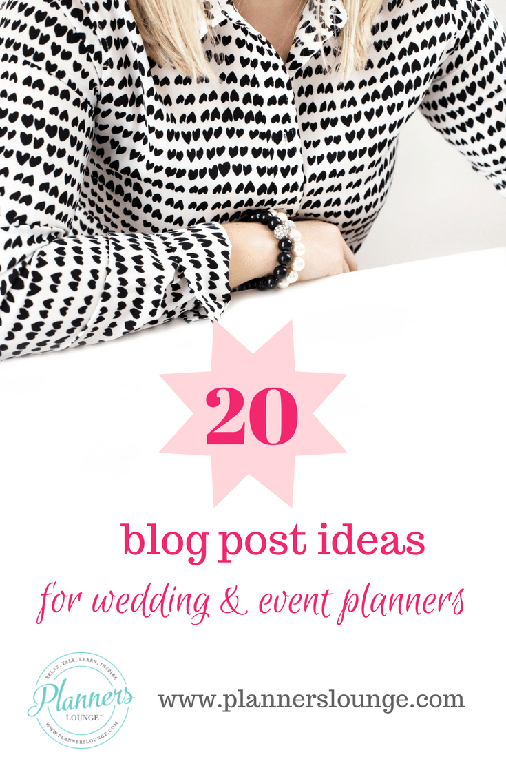 Blog topic ideas for wedding and event planners