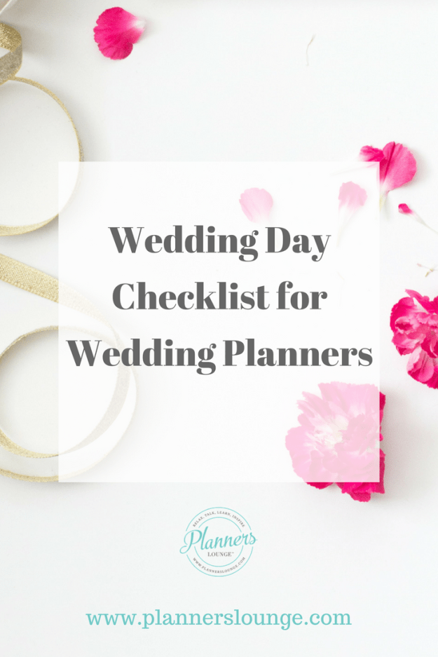 Checklist for wedding planners to use on the wedding day