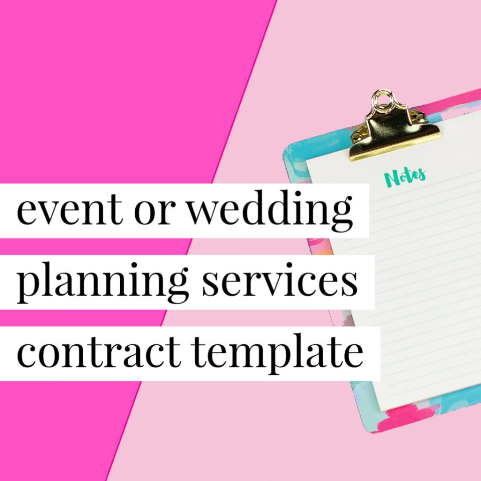 Event and wedding planner service contract templates