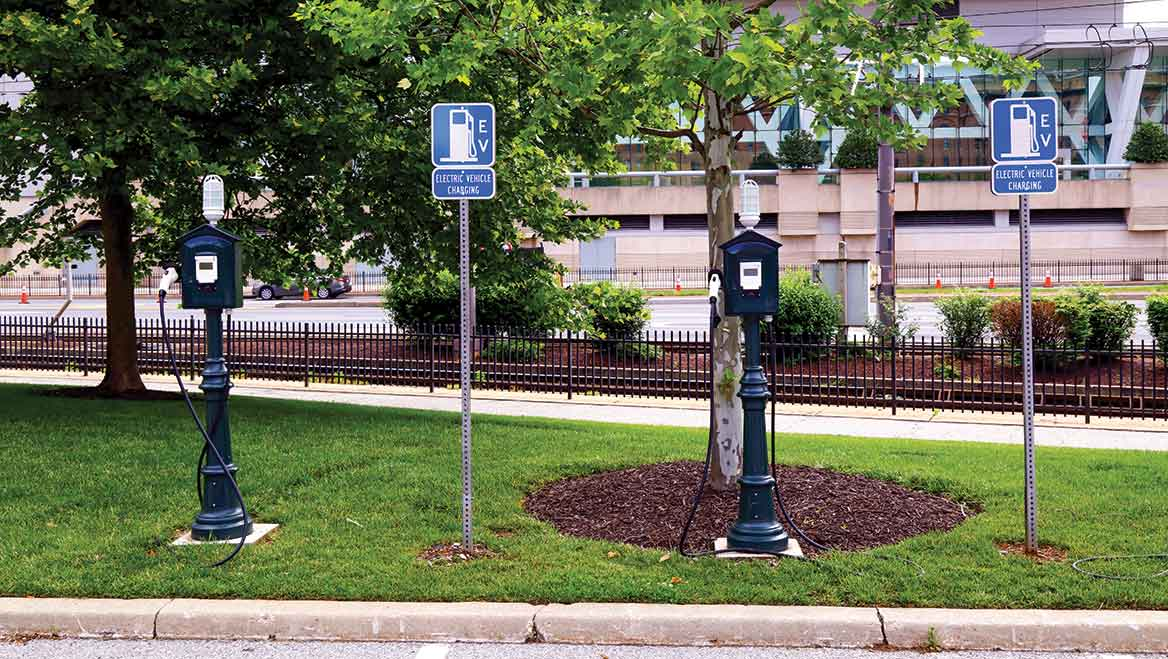 Leisure destinations offer good opportunities for top-off charging. And these stations outside Camden Yards in Baltimore blend well with the area's character. Photo by James Brunker/Alamy.