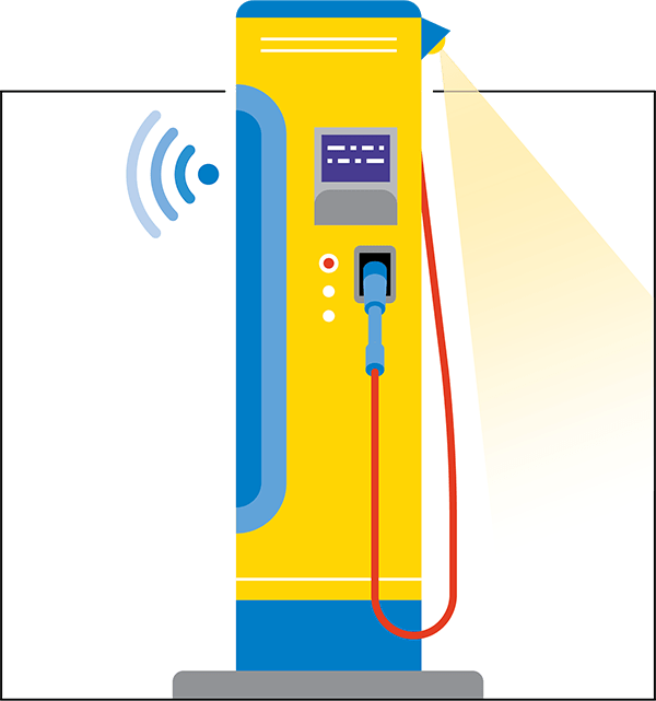 Taller than pedestals, these freestanding charging stations feature a built-in cord management system that keeps cords elevated. Modular elements such as lighting or wifi infrastructure can be paired with the tower. Costs can be high if trenching or other complex installation is required.