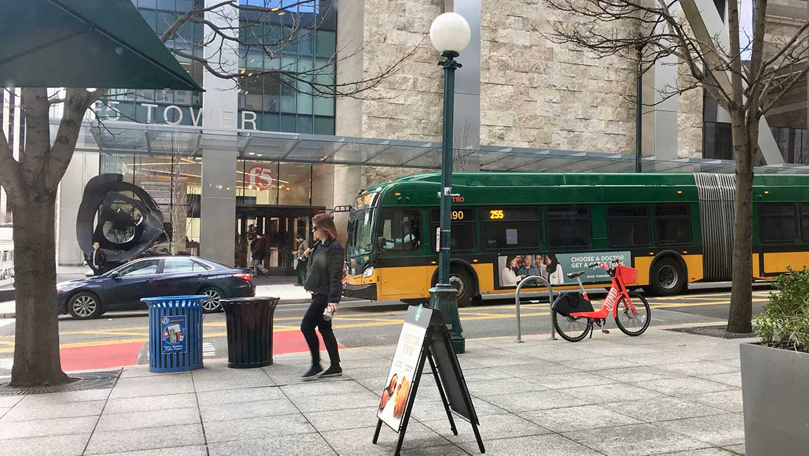 Seattle's Flex Zones plan prioritizes curb-based goals and the surrounding land use. Photo courtesy of Seattle Department of Transportation.