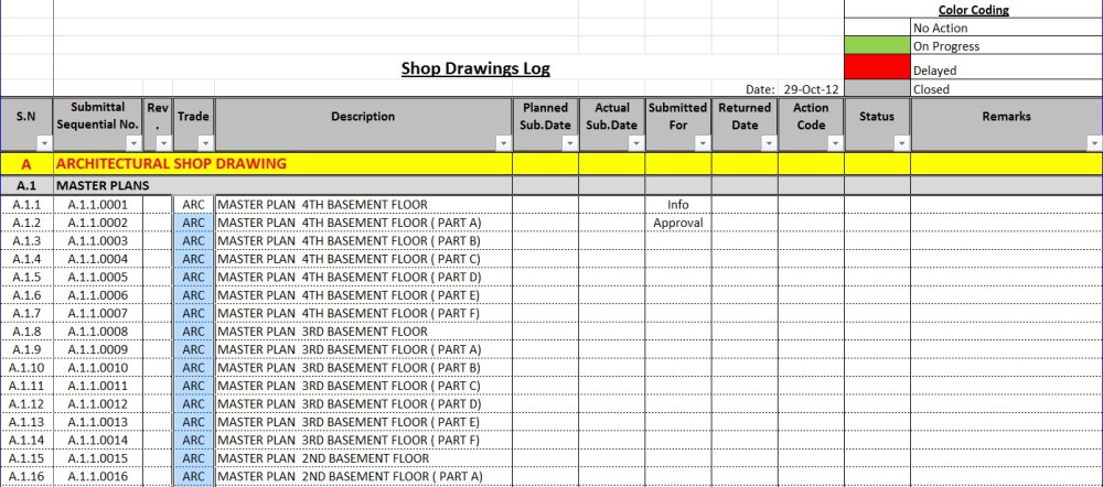 medium resolution of how to create a shop drawings submittas log with sample