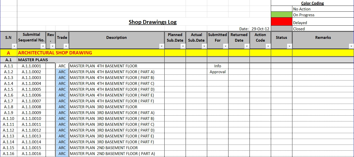 hight resolution of how to create a shop drawings submittas log with sample
