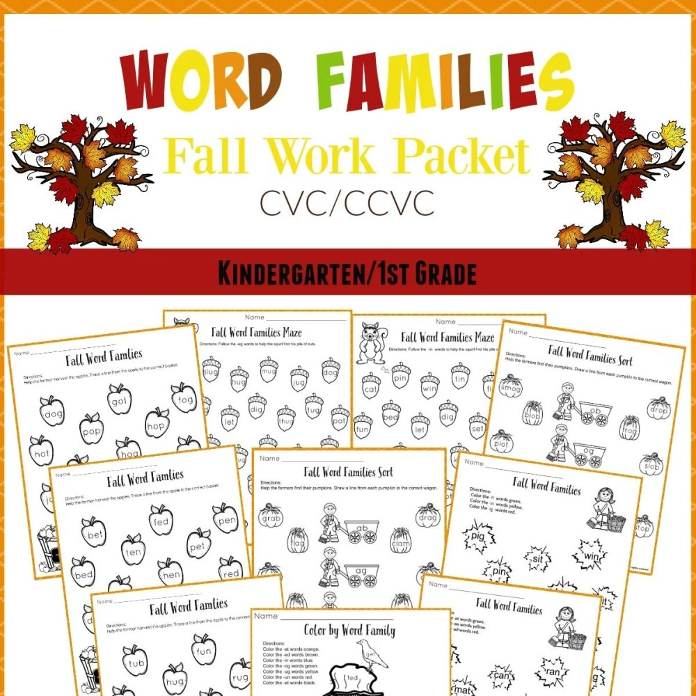 medium resolution of Fall Word Families Worksheets for Kindergarten or 1st Grade - Planning  Playtime