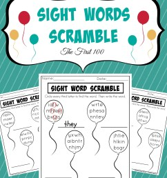 Sight Words Scramble Worksheets - Planning Playtime [ 3000 x 2400 Pixel ]