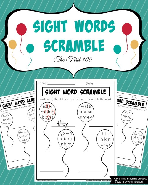 small resolution of Sight Words Scramble Worksheets - Planning Playtime