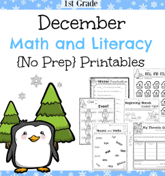 1st Grade December Math and Literacy Worksheets - Planning Playtime [ 1040 x 1040 Pixel ]