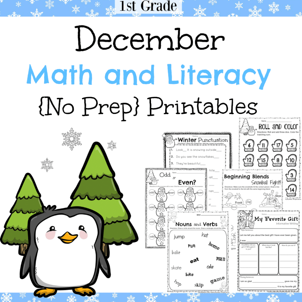 medium resolution of 1st Grade December Math and Literacy Worksheets - Planning Playtime
