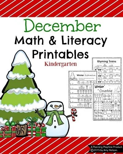 Kindergarten Math and Literacy Printables for December with a Freebie. #kindergarten #worksheets #printables