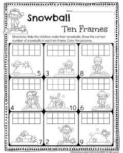 Kindergarten 10 frames worksheet. Draw the correct number of snowballs in the 10 frame. #kindergarten #worksheets