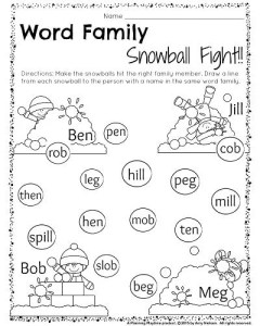 Word families worksheet for Kindergarten or 1st grade. Help the kids aim their snowballs. Draw a line from each snowball to the correct kid. #kindergarten #word #families #worksheet