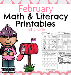 1st Grade Math and Literacy Worksheets for February - Planning Playtime [ 1040 x 1040 Pixel ]