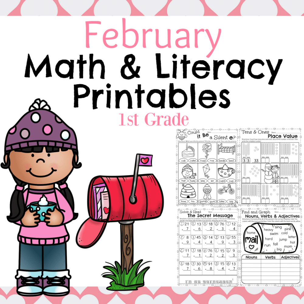 medium resolution of 1st Grade Math and Literacy Worksheets for February - Planning Playtime