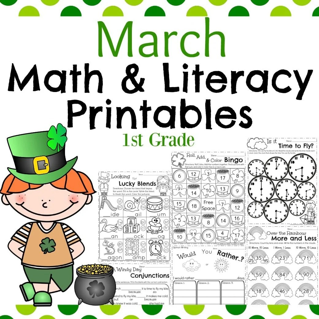 hight resolution of March First Grade Worksheets - Planning Playtime