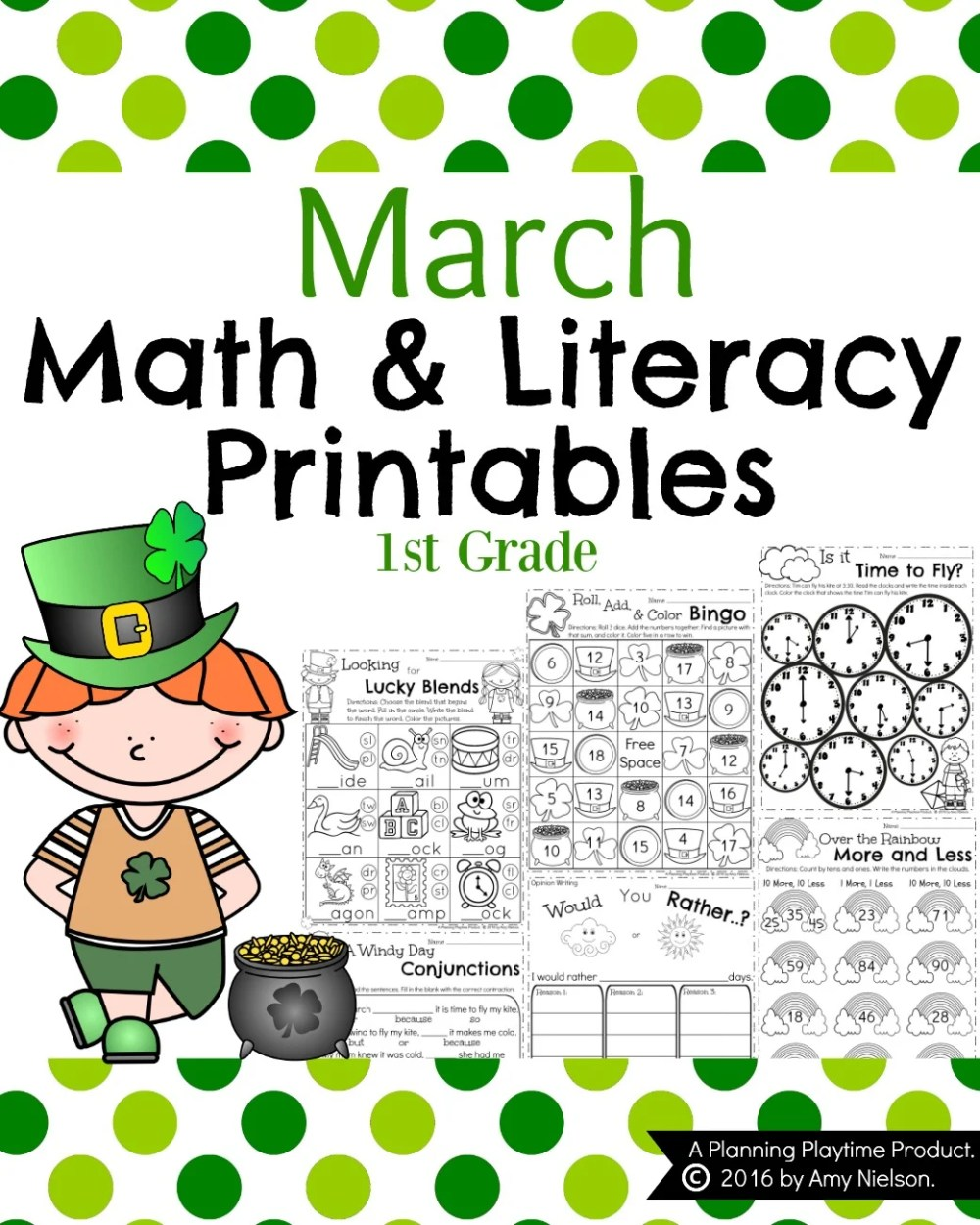 medium resolution of March First Grade Worksheets - Planning Playtime