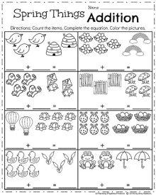 April Kindergarten Worksheets