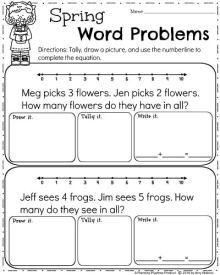 April Math Worksheets - Spring Word Problems