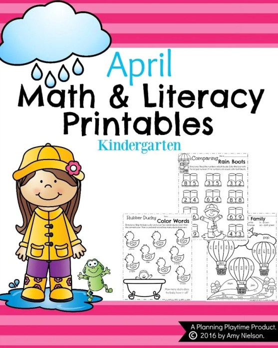 Kindergarten Math and Literacy Printables - April