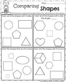 Kindergarten Shapes worksheet for Spring - Comparing Shapes