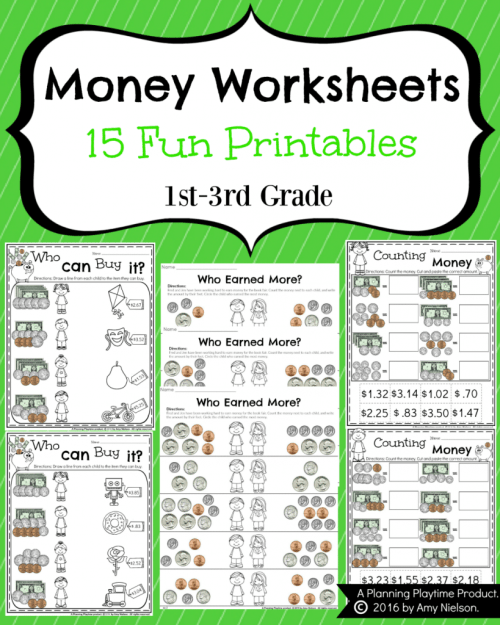 small resolution of Money Worksheets for 2nd Grade - Planning Playtime