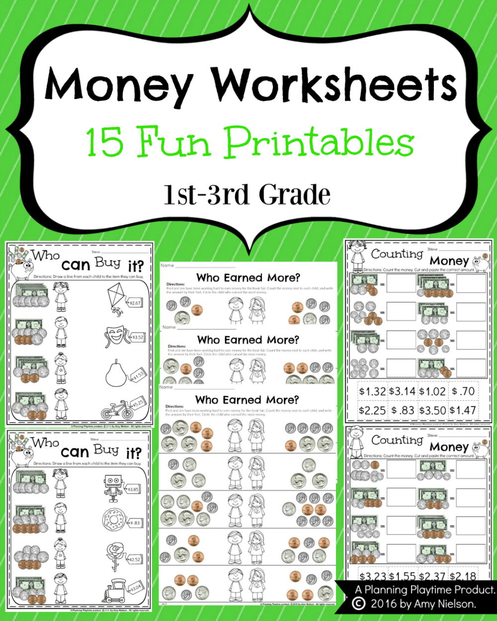 medium resolution of Money Worksheets for 2nd Grade - Planning Playtime